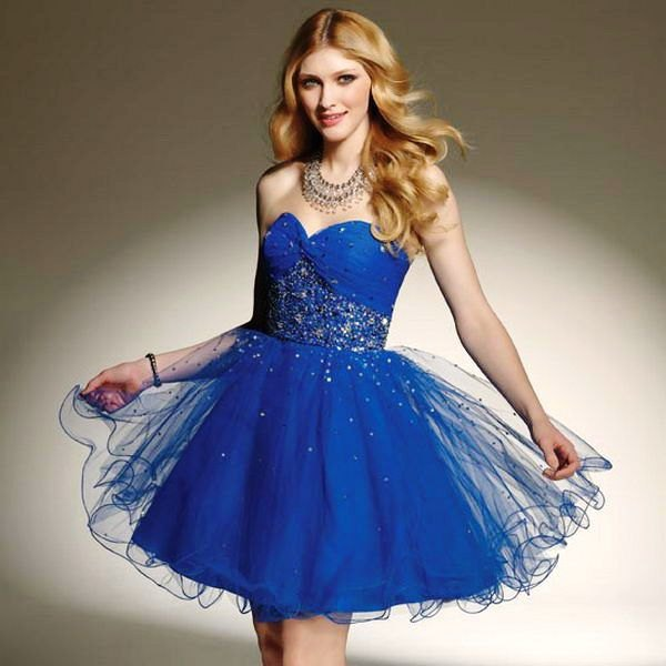 royal blue sweetheart neckline mini tulle dress with silver sequin details