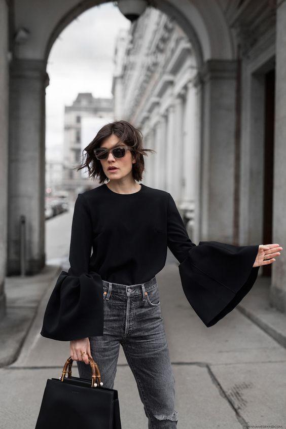 ruffle sleeve blouse monochrome