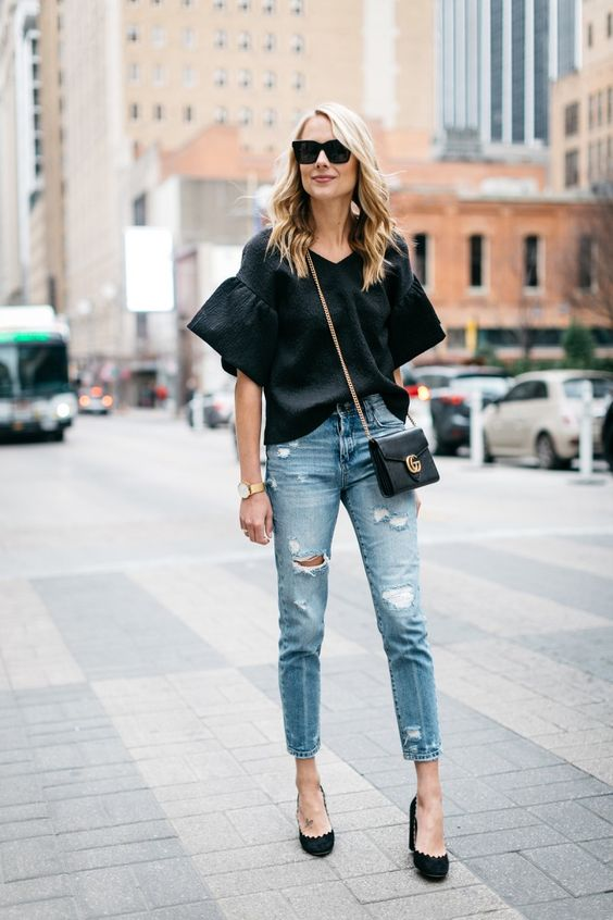 ruffle sleeve blouse transitional