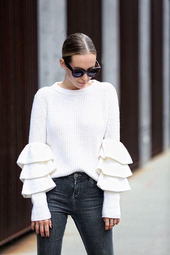 ruffle sleeve blouse white delicate