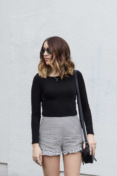 ruffle striped shorts black long sleeve fitted tee