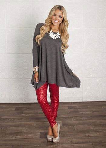 sequin leggings with grey cotton babydoll mini dress