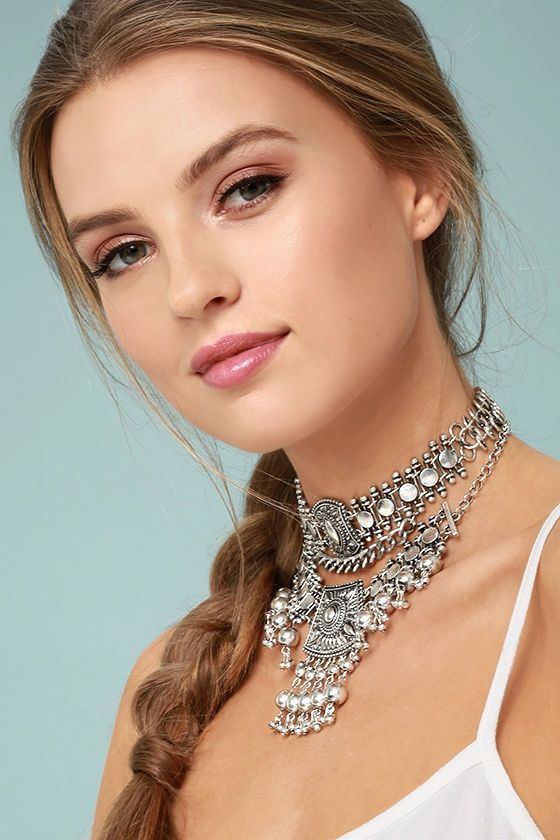 silver choker necklace massive