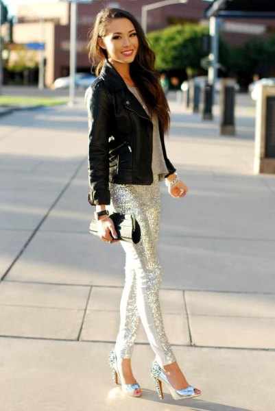 silver sequin leggings with black moto jacket