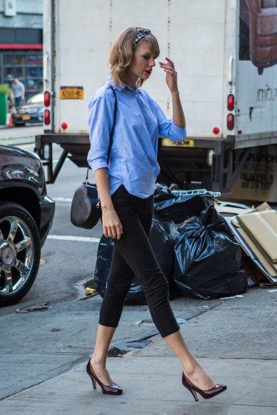 sky blue button up shirt with black capris