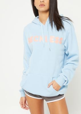 sky blue embroidred hoodie grey flowy mini shorts