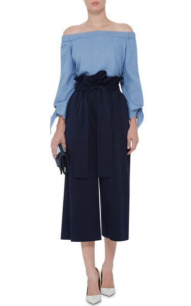 sky blue off shoulder blouse black wide leg cropped twill pants
