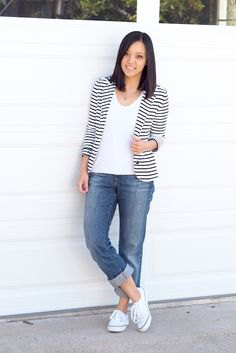 striped blazer white tee greyish blue boyfriend jeans