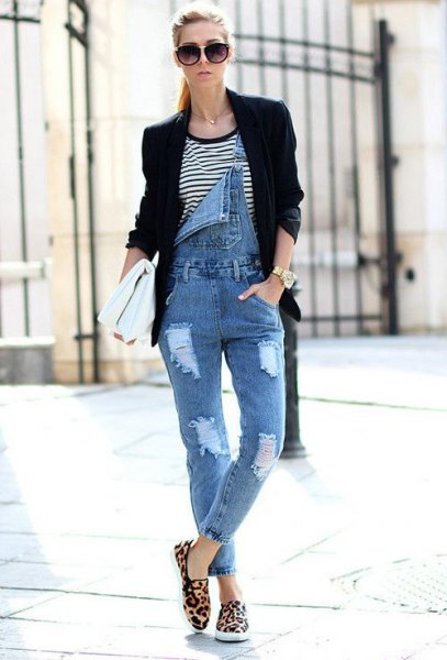 striped t shirt black blazer
