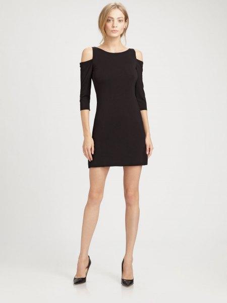 three quarter sleeve black cold shoulder mini dress with heels