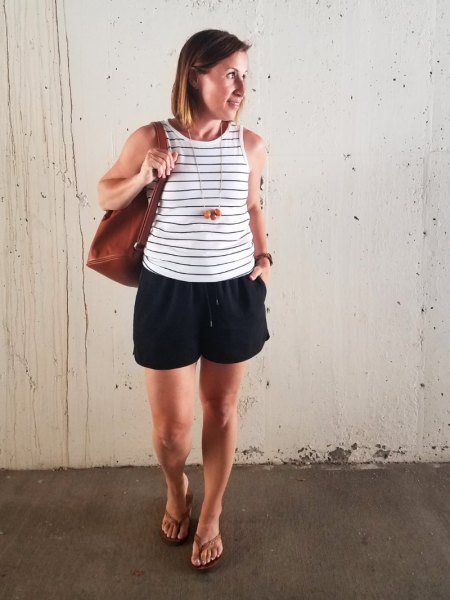 white and grey striped vest top black shorts