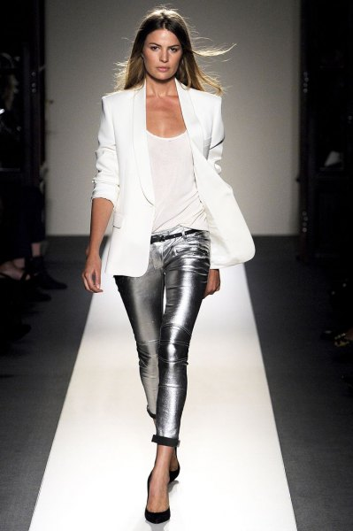 white blazer with silver metallic leggings