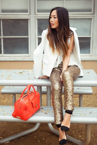 white blazer with sleeveless blouse gold leggings