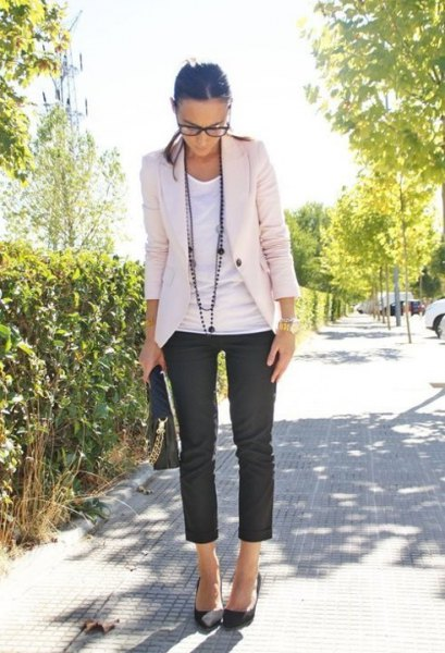 white blazer with vest top and black capris