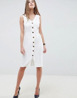 white button front knee length v neck sheath dress
