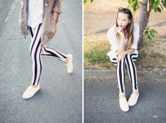 white button up boyfriend shirt vertical striped leggings