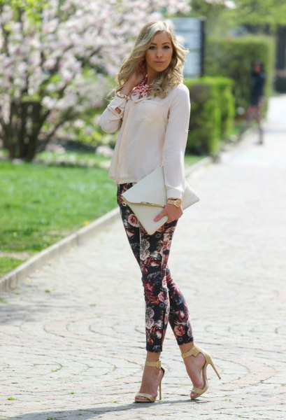 white chiffon blouse with black floral skinny pants