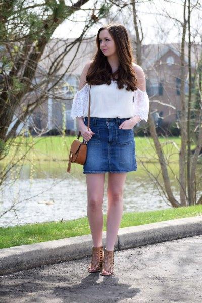 white cold shoulder top high waisted blue denim mini skirt