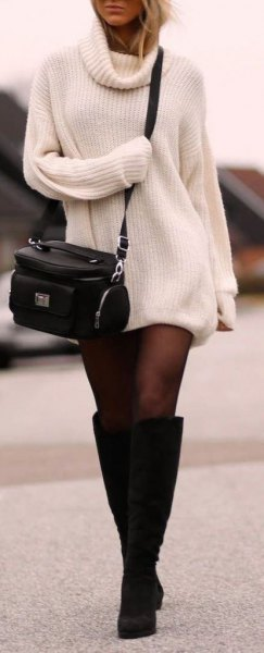 white cowl neck mini knitted dress with black knee high boots