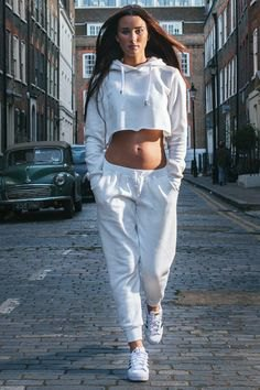 white cropped hoodie with jogger pants