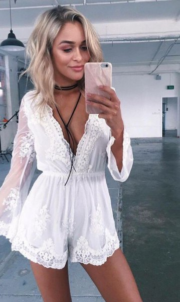 white deep v neck flowy lace romper with choker