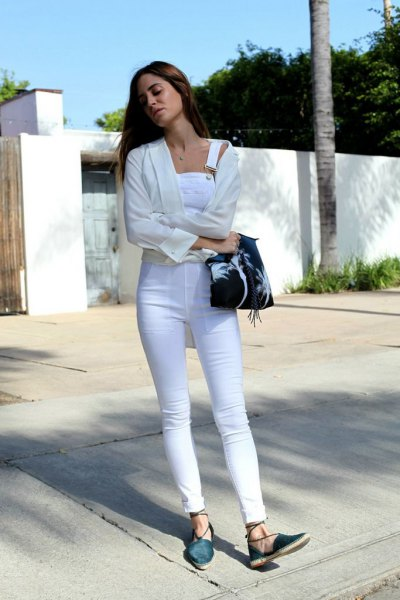 white denim skinny overall with cardigan