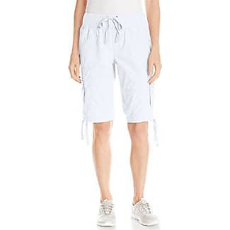 white elastic waist knee length cargo shorts with sneakers