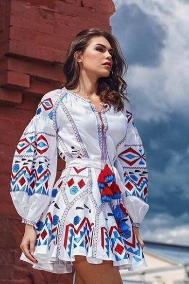 white embroidered dress traditional