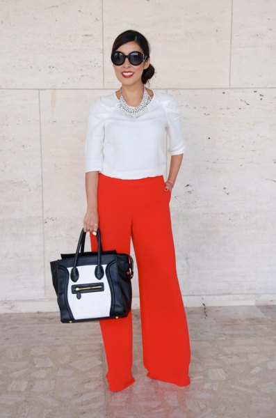 white half sleeve blouse with red wide leg pants