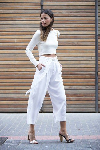 white long sleeve form fitting crop top with culottes