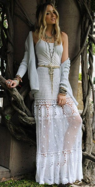 white mesh and crochet maxi bohemian skirt cardigan