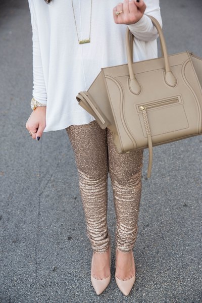 white mini shirt dress with gold sequin leggings