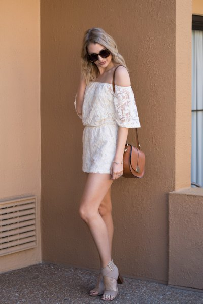 white off shoulder lace romper with open toe pink heels