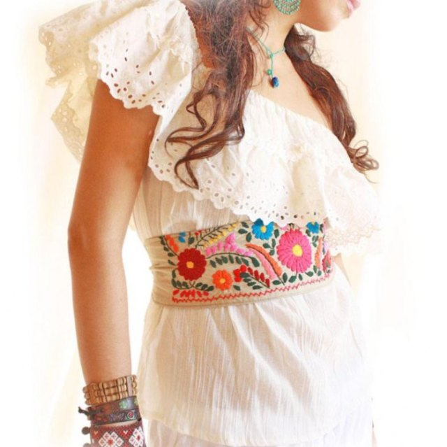 white one shoulder mexican blouse white flared midi linen skirt