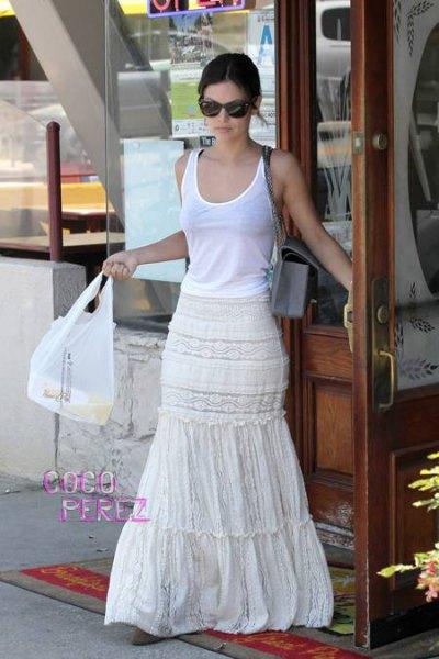 white peasant floor length skirt tank top