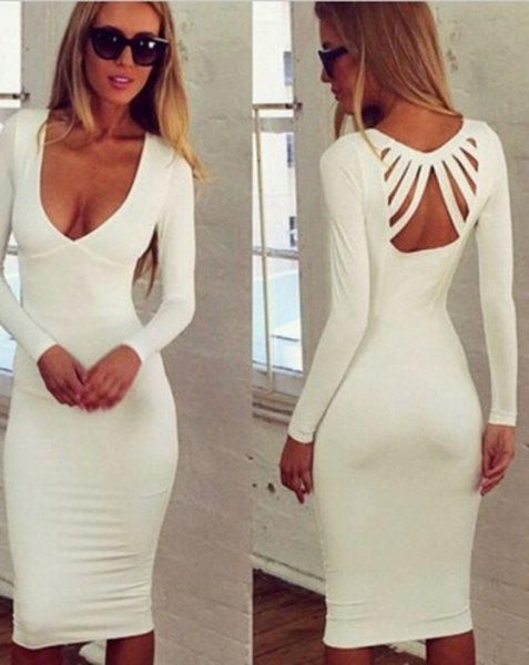 white plunging neckline and cutout back midi dress