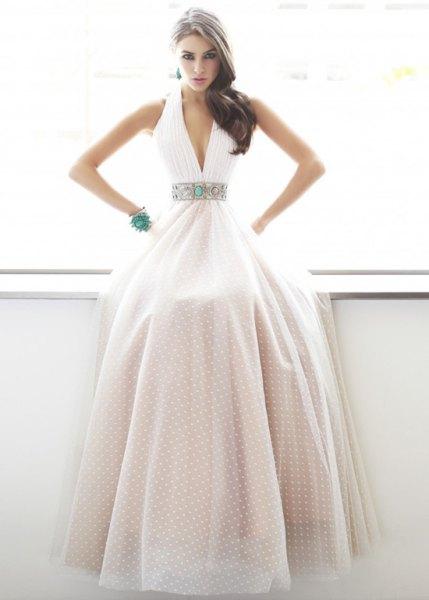 white polka dot bandage deep v neck maxi flared dress