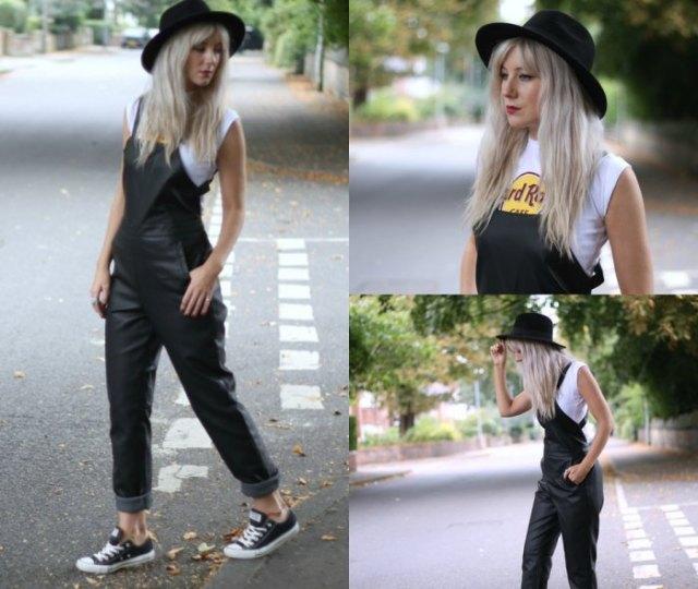 white sleeveless print tee black felt hat