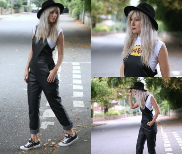 white sleeveless print tee black felt hat