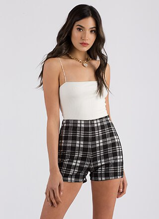 white spaghetti strap tube top high waisted shorts