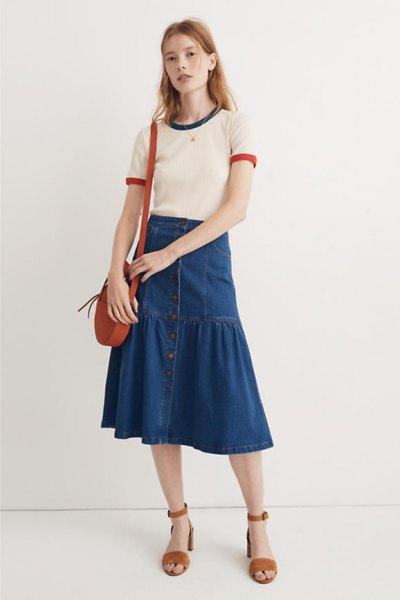 white t shirt blue midi denim peasant skirt