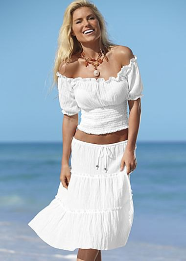 white two piece set off shoulder top peasant midi skirt