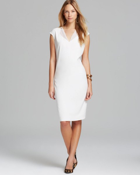 white v neck cap sleeve midi dress