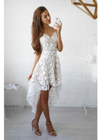 white v neck crochet lace high low midi flared dress