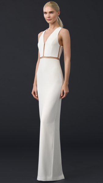 white v neck maxi bodycon dress