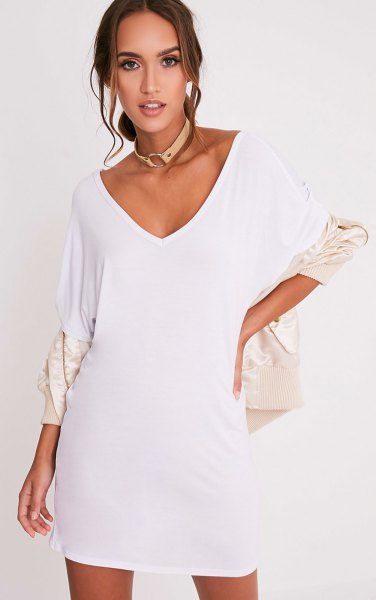 white v neck t shirt dress with ivory bomber jacket