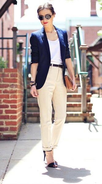 white vest top navy blazer ivory twill pants