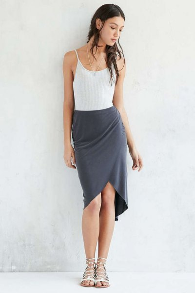 white vest top with grey silk tulip mini skirt
