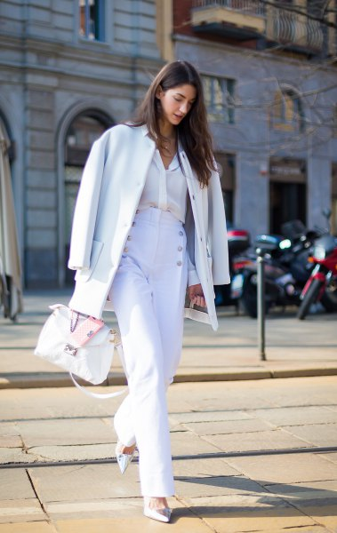 white wool coat with matching wide leg sailor pants
