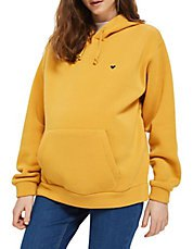 yellow heart embroidered hoodie with jeans